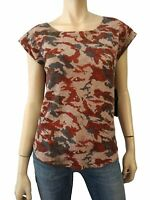 ZADIG & VOLTAIRE Red Data Print Cap Sleeve Cashmere Top Sweater S NEW WITH TAGS