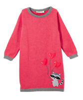 NWT Sophie & Sam Racoon Heart Pink Long Sleeve Girls Sweater Dress 2T 3T 4T