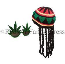 ADULT JAMAICAN RASTA HAT WITH DREADLOCKS & GANJA GLASSES BOB MARLEY FANCY DRESS