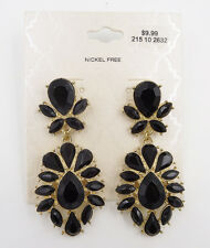 Gorgeous New Dangle Earrings with Jet Black Teardrop Stones NWT #E1004
