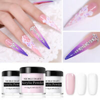 NICOLE DIARY WHITE CLEAR PINK Color Acrylic Powder for Nail Art False Tips Tool