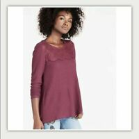 Lucky Brand lace mixed thermal top burgundy size x small womens XS