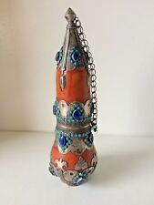 ANTIQUE CENTRAL ASIAN GOURD SILVER MOUNT JEWELED PERFUME SNUFF TOBACCO