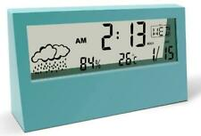 Digital Alarm Clock Large LCD with Weather Humidity Temperature Calendar Display