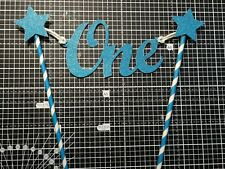 Blue Cake Bunting Topper Banner One First Birthday Glitter