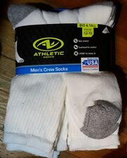 New! ATHLETIC WORKS  men's big and tall crew SOCKS Size 12-15/ 6-pack white