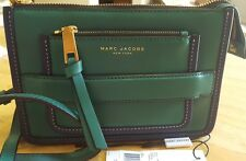 Marc Jacobs Womens Madison Leather Crossbody Clutch  Bag Emerald Green Navy