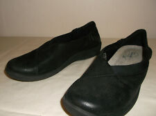 CLARKS Cloud Steppers Sillian Black Wide Sz Loafers Flats Shoes 7.5 M