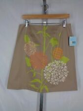 Gene Meyer Khaki Tan Floral Skirt Size 8 Botanical New