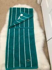 """NEW 2PC Lacoste Croc Bath Towels 30"""" x 54"""" / 100% Cotton / Sport Stripe"""