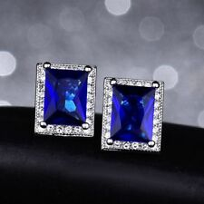 18K White Gold Sapphire Blue Stone and white crystal Stud Earrings    331