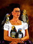 Frida Kahlo canvas I and my parrots print giclee 8X12&12X17 reproduction poster