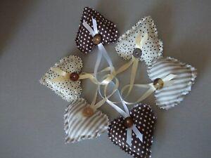 6 pretty   hanging hearts handmade