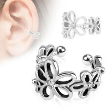 Flower with Clear CZ Rhodium Plated Brass Non Piercing Cartilage Ear Cuff Ring