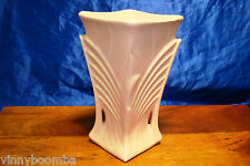 VINTAGE MCCOY PEACH VASE 9 INCH TALL ART DECO STYLE PALM LEAF SQUARE TOP BEAUTY
