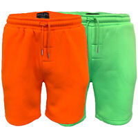 Mens Neon Jogger Shorts Brave Soul Knee Length BRIGHT Casual Fleece Lined Summer