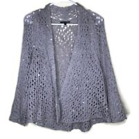 Eileen Fisher Womens Large Taupe Sequin Cardigan Open Front Knit 3/4 Sleeve