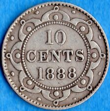 Canada Newfoundland 1888 10 Cents Ten Cent Silver Coin - Very Fine