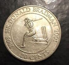 2001 20c SIR DONALD BRADMAN AUSTRALIAN DECIMAL COIN