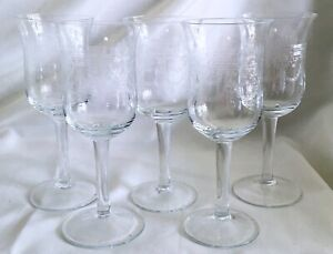 5 Vintage Etched Crystal Sherry/Wine Stemware Glasses w/ Band, Wreath & Swag