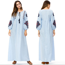 Embroidery Muslim Maxi Long Dress Abaya Dubai Womens Tassel Robe Cocktail Kaftan