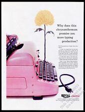 1955 Royal Electric pink typewriter photo vintage print ad
