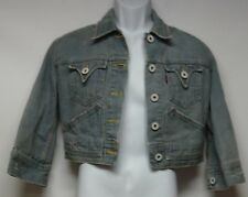 Levis Women's Size M Jacket Denim Cropped Classic Faded Distressed Blue Jean