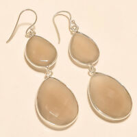 Natural African Off White Agate Earrings 925 Sterling Silver Handmade Jewelry AA