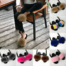 Womens Sliders Faux Fur Fluffy Sandals Flat Comfy Slides Slippers Casual Shoes