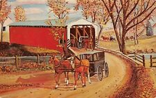 (761) Postcard of A Painting by H.J. Loewen showing a Covered Bridge, Amishland