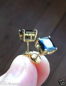 Mens & Ladies 14K Gold 3.00 ct. Black Lab Diamond Screw Back Stud Earrings 8mm