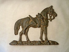 """VINTAGE 6¾"""" CAST IRON HORSE & SADDLE STABLE BARN DECOR WALL HANGING MAN CAVE EXC"""