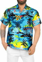 "LA LEELA Likre Men's Hawaiian Shirt Teal Blue 293 X-Small | Chest 36"" - 38"""