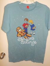 MENS SIZE XXLARGE BLUE SEASON'S EATINGS GINGERBREAD MAN GRAPHIC TSHIRT NEW #5163