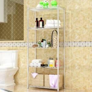 5 Tier Chrome Metal Storage Rack/Shelving Wire Shelf Kitchen/Office/Garage Unit