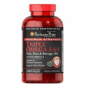 Puritan's Pride Triple Omega 3-6-9 Fish, Flax, and Borage Oils, Fatty...