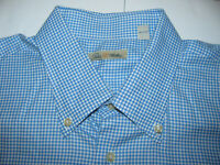 Peter Millar Men's Sz XL 100% Cotton Blue Plaid Short Sleeve Button Shirt
