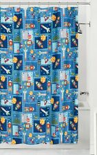 Space Kids Fabric Shower Curtain Rockets Planets Star Constellation Green Blue