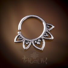 Silver Tragus Lotus Septum Ring, Conch Jewelry. Snug Ring (code 1)