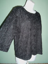 NWT Romantic  J. Crew Black 3/4 Slv EMBROIDERED Hip Length BUTTON BACK Top sz XL