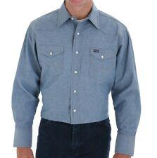 Nuovo da Uomo Wrangler Chambray Camicia Western Jeans Vintage Stile Cowboy Blu