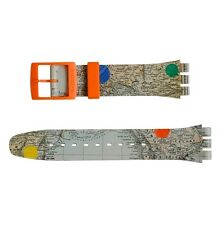 """ORIGINAL SWATCH 19MM NEW GENT ARMBAND """"THIS IS MY MAP"""" (ASUOZ198) NEUWARE"""