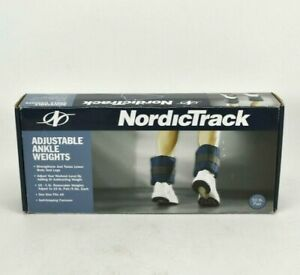 NordicTrack Pair Adjustable Ankle Weights 2x 5 lbs = 10 lbs Total Navy Blue