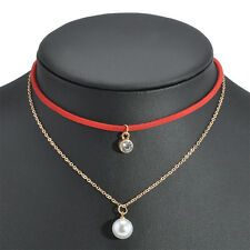 Fashion Women Velvet Leather Choker Necklace Pearl Rhinestone Chain Jewelry Gift