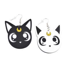 Anime Sailor Moon Luna Cat Earrings Acrylic Ear Studs Contrast Color Ear Drops