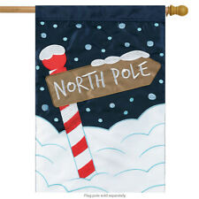 """North Pole Christmas Applique House Flag Embroidered Holiday 2 Sided 29"""" x 42"""""""