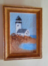 "Dollhouse 1:12 original painting, Artist Signed ""Ruth"" Lighthouse on Shore"