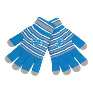 Detroit Lions Gloves Acrylic Stripe Knit Sports Logo Winter New Texting Tips