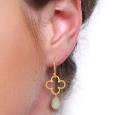 Aqua Chalcedony 14K Gold Plated Sterling Silver Drop Earrings Gemstone Jewelry