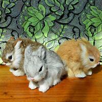 3 Realistic Lifelike Rabbits Fur Furry Animal Figurine Easter Bunnies Photo Prop